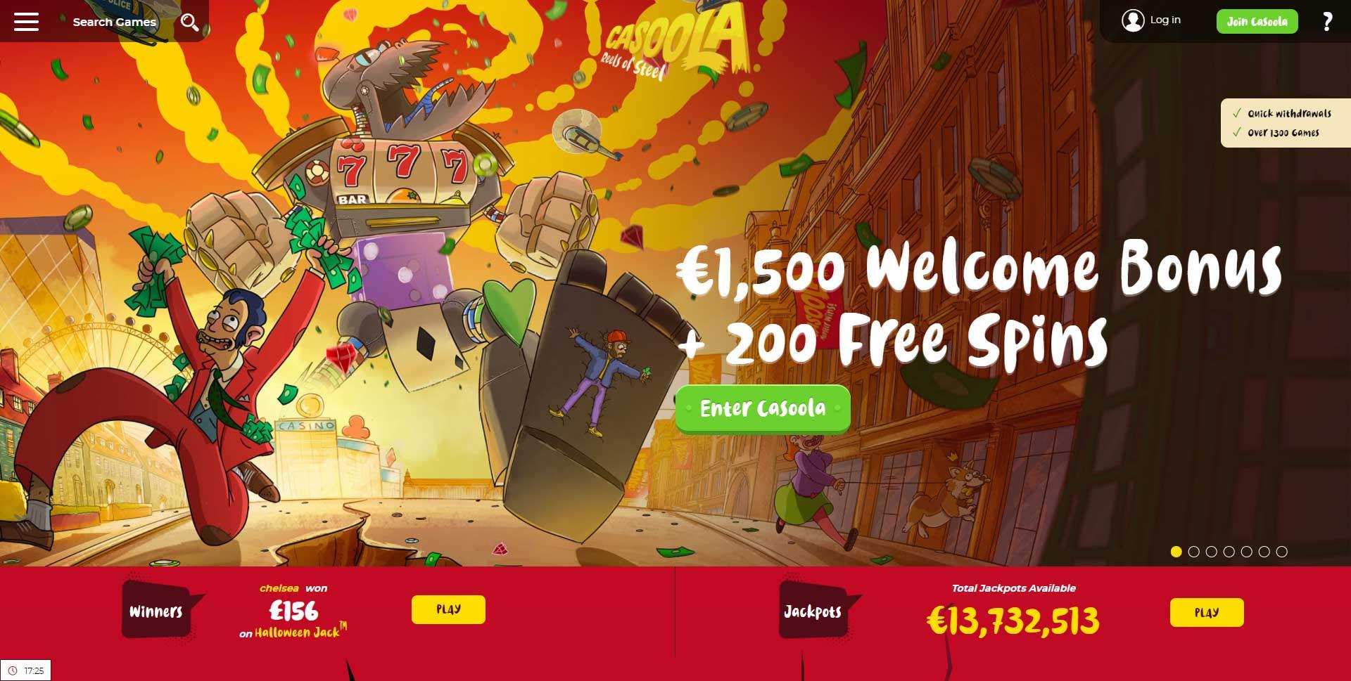 200 Free Spins at Casoola Casino