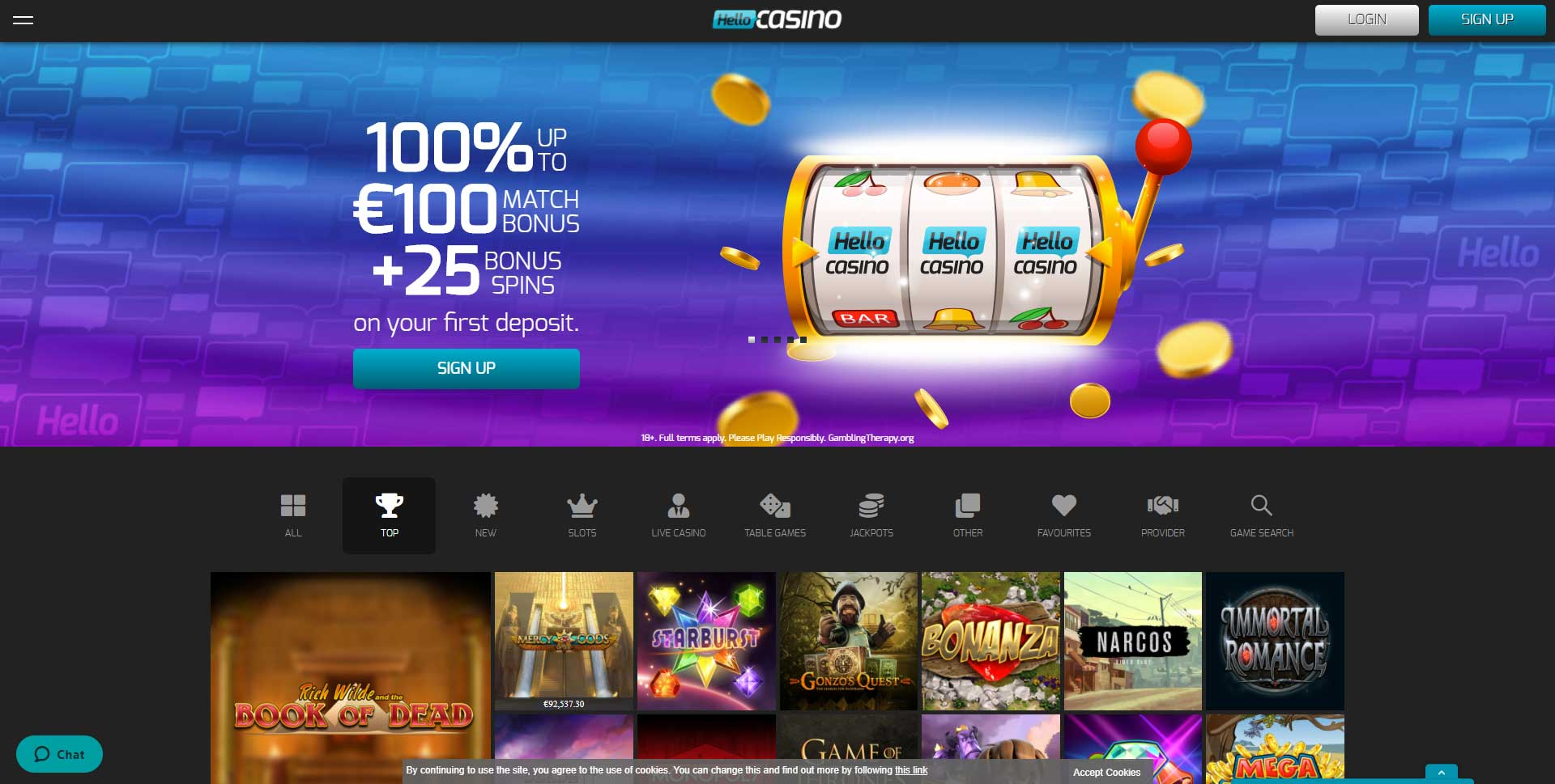 25 free spins from your first deposit