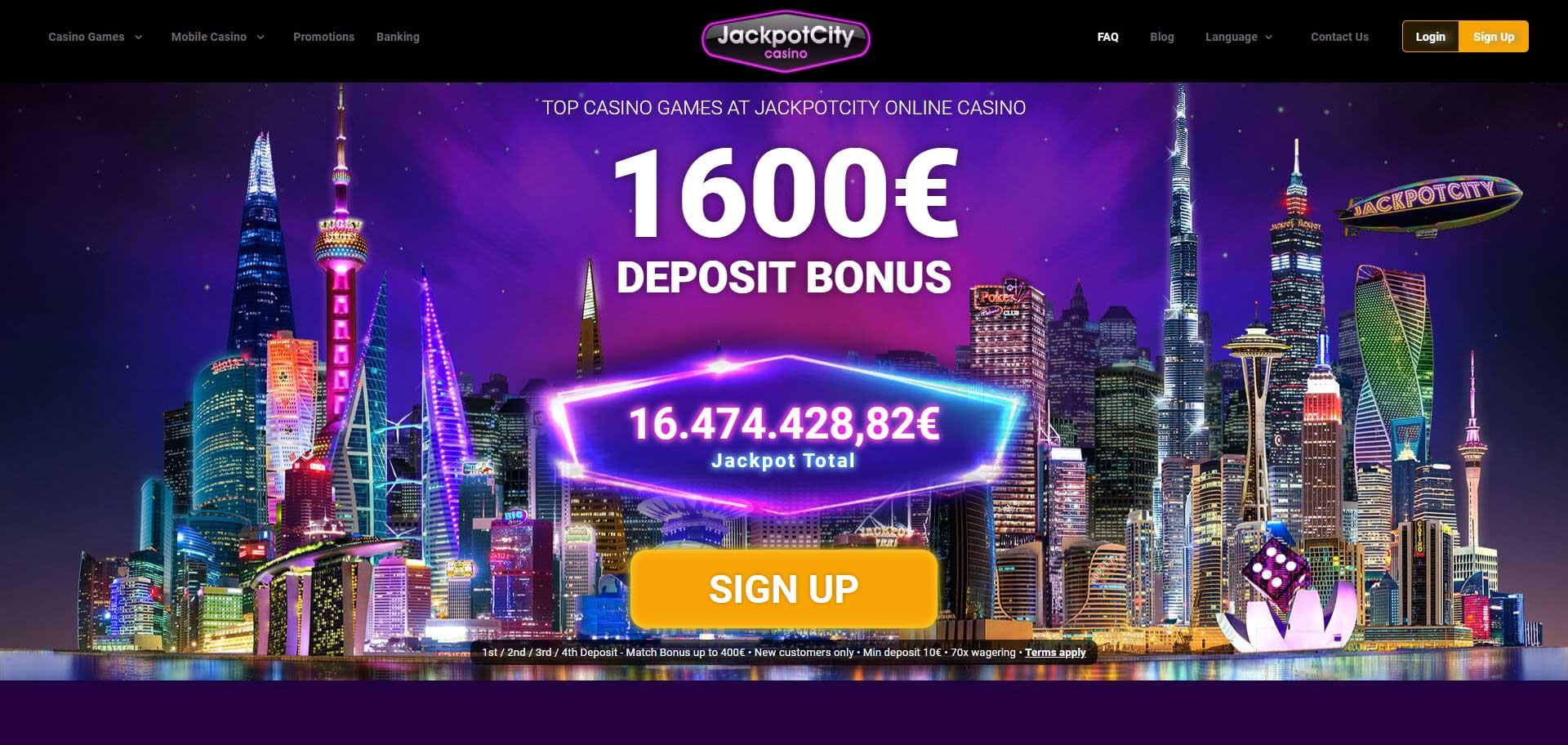 1600 deposit bonus - jackpot scity free spins