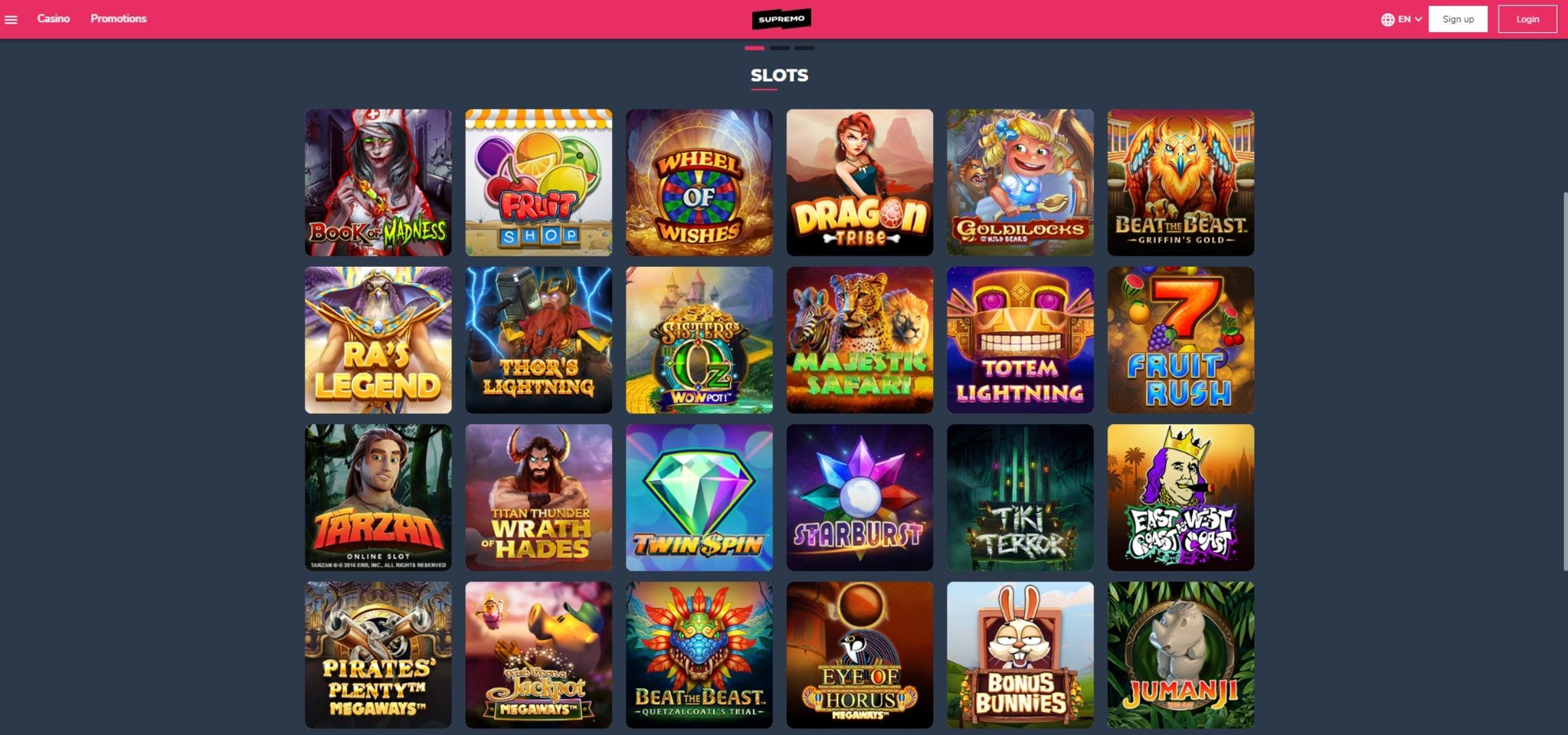 supremo casino slots games