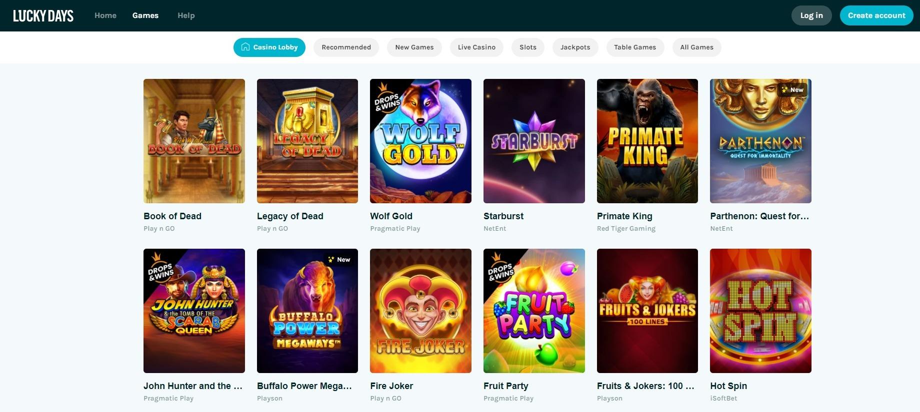 luckydays casino games
