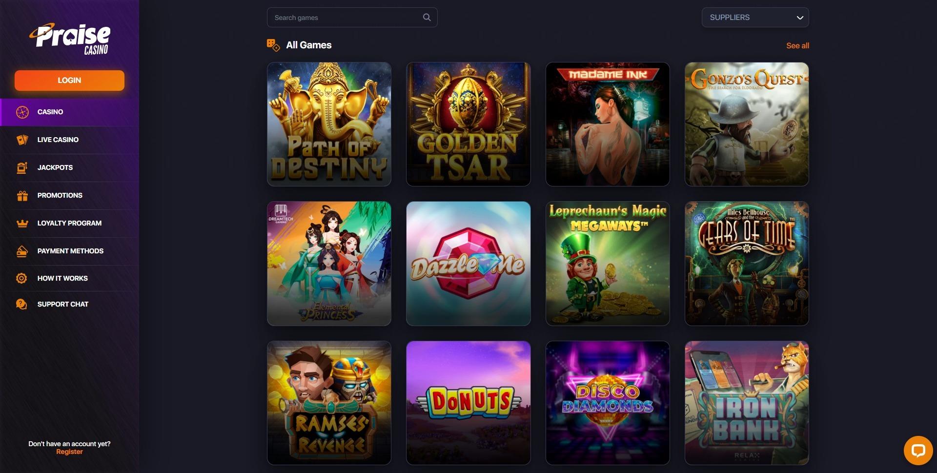 Praise Casino Games Canada
