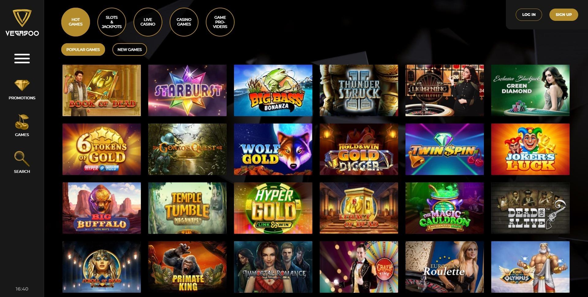vegasoo casino games
