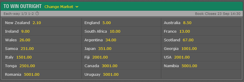 Bet 365 rugby world cup odds