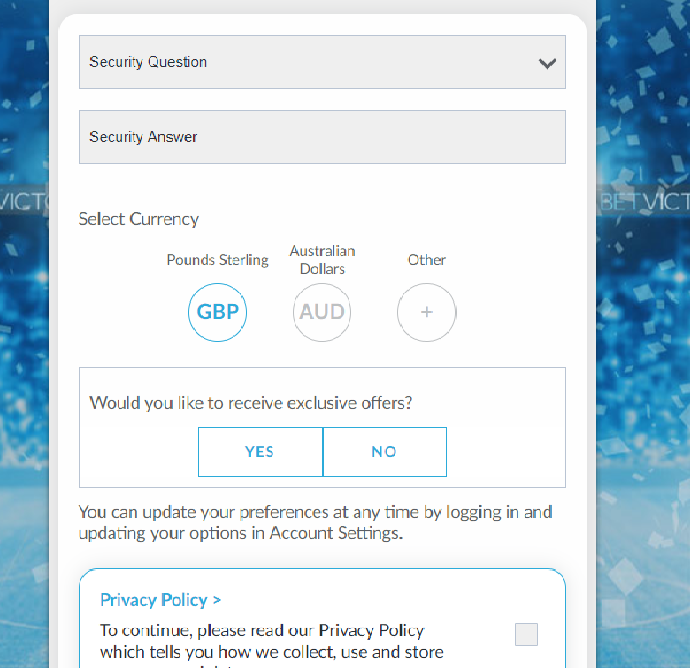 Betvictor Security question