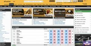 Screenshot of Betfair Web View