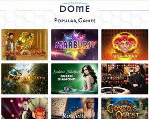 Popular Games from Casino Dome: Book of Dead, Starburst, Fire Joker, Gonzo's Quest, Green Diamond, Lightning Roulette