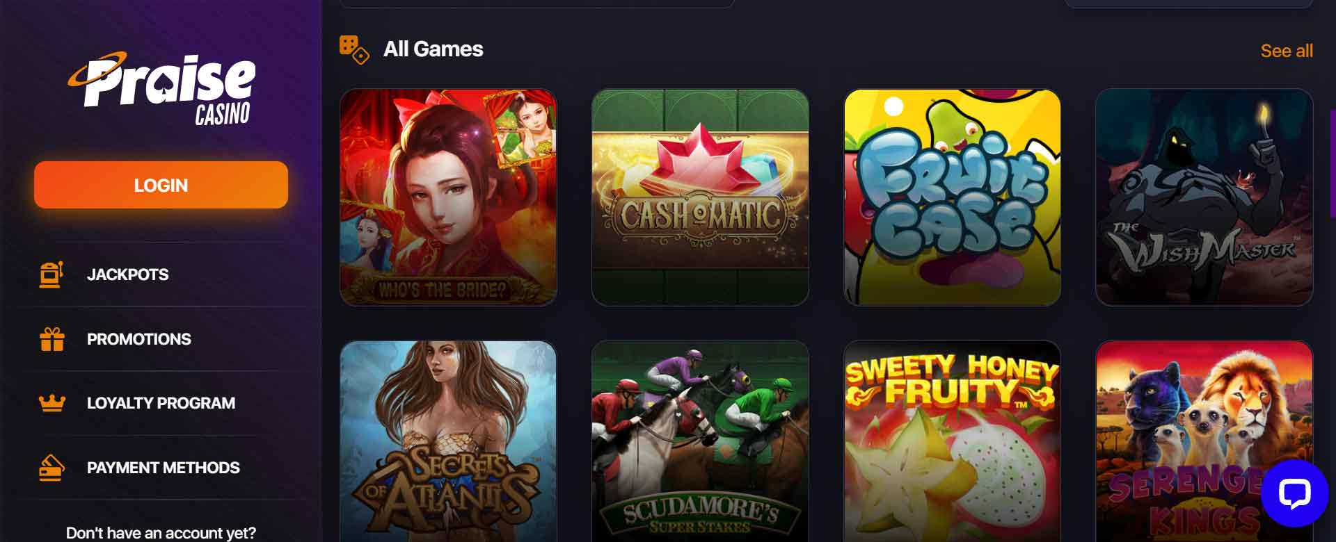 Slot games available at Praise Casino -