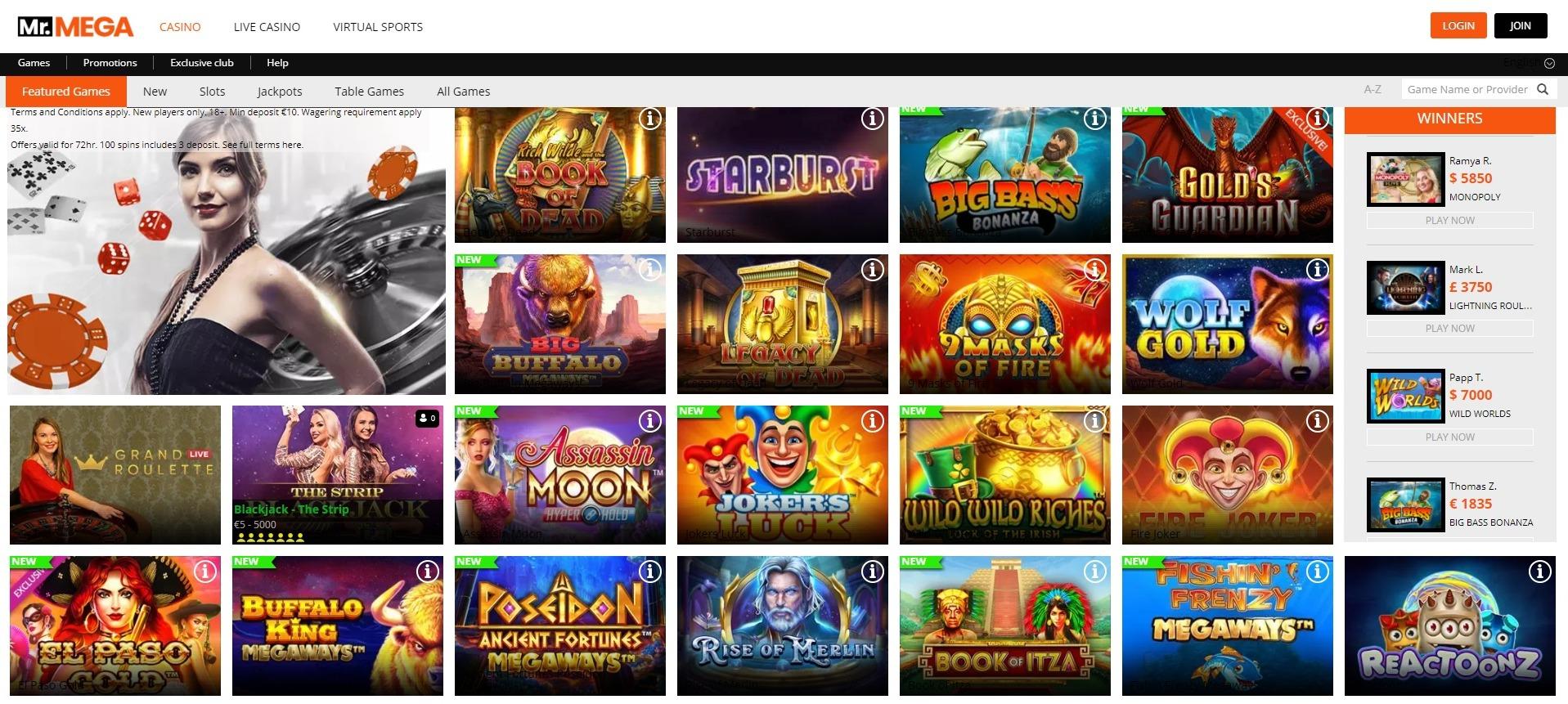 Mr Mega Casino Games